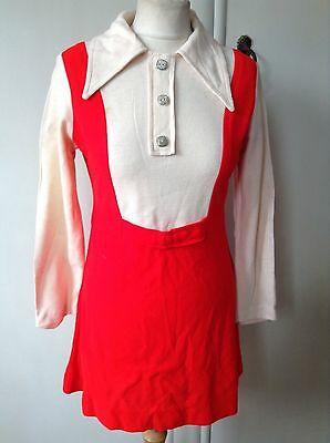 Vintage 60's 70's Mini Mod Dress Waisted Big Collar Red Ivory Med