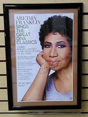Aretha Franklin Hand Signed Autograph Promotion Sings The Great Classic Poster