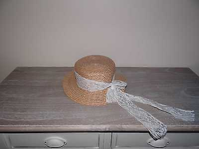 Vintage Women's Sun Hat Natural with Lace Style Trim Ribbon
