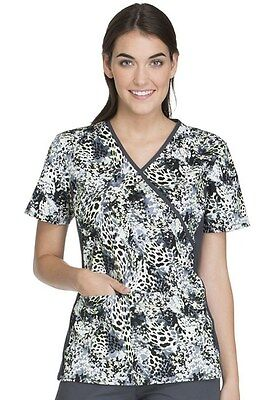 3562ee5e11e Mock Wrap Knit Panel Scrub Top CK610-JUBS Print (Jungle Blossom) Size S