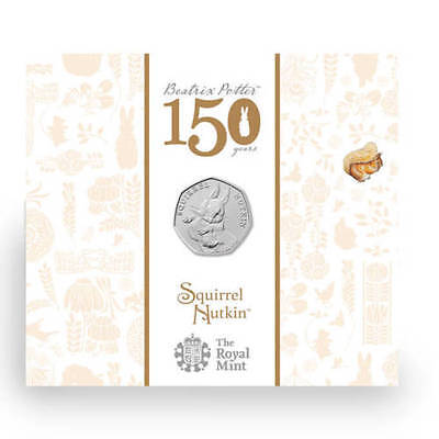 "2016 United Kingdom (UK) 50p BU Coin ""Beatrix Potter's Squirrel Nutkin"""