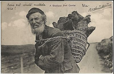 """A Shetland Peat Carrier"" on fine circa 1909 Ramsay photo postcard in Esperanto"