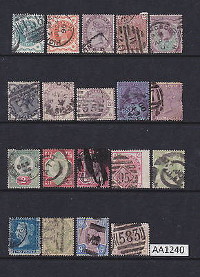 Group of 19 Queen Victoria GB Postage Stamps