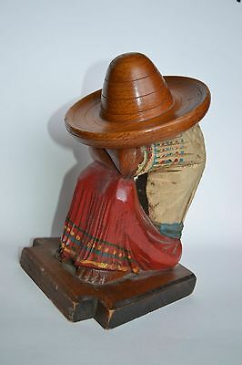 Wood Carved Carving Hand Made Person wooden art vintage