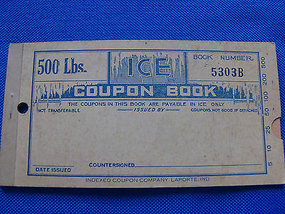 NOS Ice Coupon Book 500 lbs. 1920's
