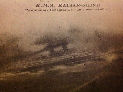 R.M.S. Kaisar-I-hind Postcard 1919 On Active Service + P&O + Back Of Deck Photo