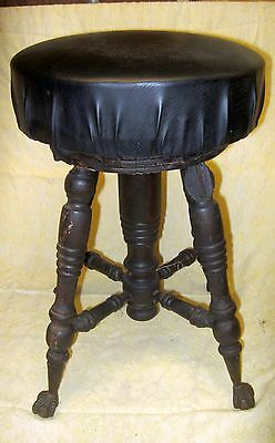 Vtg Piano Stool Antique Wood ADJUSTABLE Plant Stand ORGAN Glass feet VICTORIAN