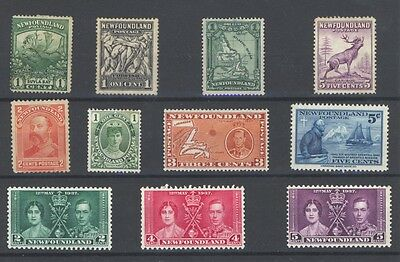 Newfoundland Stamp Selection - 11 Stamps - Mint Hinged / Mint NG