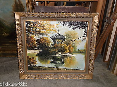 Early Japanese ? Pagoda Shrine Oil Canvas Painting Carved Asian Frame Chinese ?