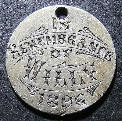 """Engraved silver Finland 50 pennia """"In remembrance of Willy 1896"""" slight bend 6h"""