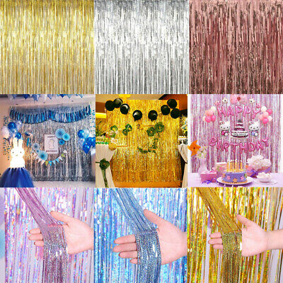 1x2m Shimmer Foil Metallic Door Curtain Fringe Birthday Party Wedding Decoration