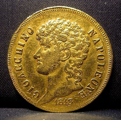 1813 Naples & Sicily 40 Lire Gold ✪ Kingdom Of Napolean ✪ 40L Italy ◢Trusted◣