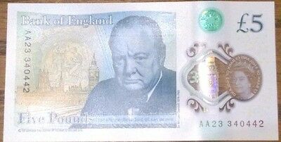 1 x BANK OF ENGLAND SERIAL NUMBER AA23 £5 NOTES FIVE POUND POLYMER