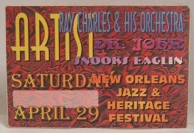 Ray Charles / Dr. John - Original Concert Cloth Backstage Pass Jazz Festival