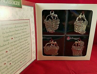 1995 Longaberger Christmas Ornaments Pewter Baskets