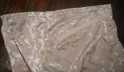 """Large curtain: ivory/silver, traditional, 4'(selvedges)x 80"""" drop, tape +hem"""