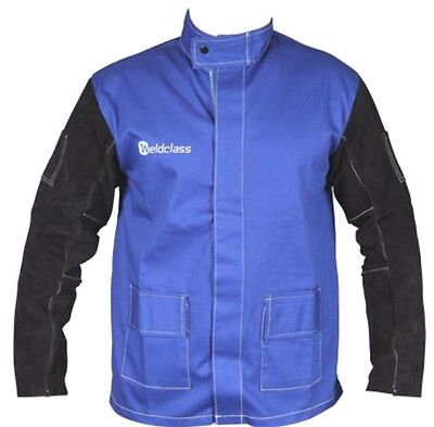 Fire Retardant Welding Jacket Blue with Leather Sleeves  Size Large (WC-04658)