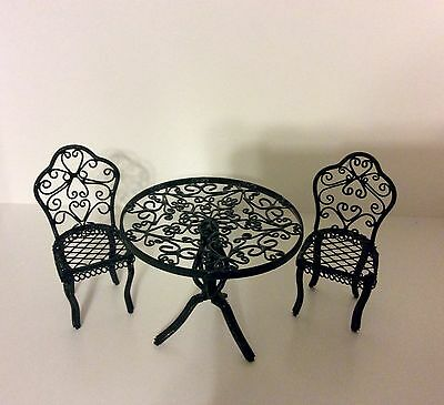 Dollhouse Miniature Reutter Green Metal Garden Patio Table and Chairs 1:12 Scale