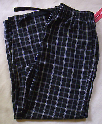 NWT IZOD Men's Silky Soft Lounge Pants Pajama Pants Black White L