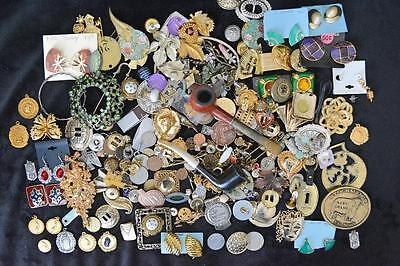 JUNK DRAWER Costume Jewelry, Vintage Pipes, Pocket Knives, Coins, Medals,Buttons