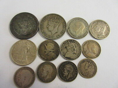 Lot Of 12 Older Silver Coins From Around The World