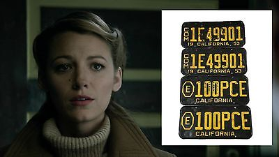 The Age of Adaline Movie Prop 1953 California Thin Metal License Plate Set Black
