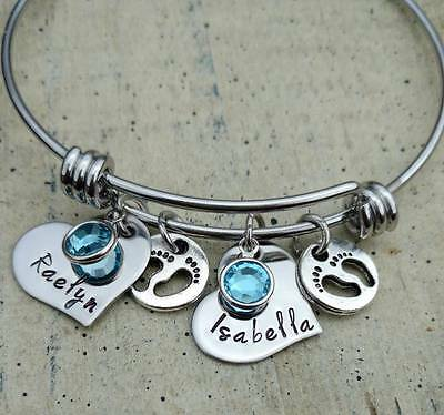 Personalized Newborn twins Baby Mother Charm Bangle Bracelet mom keepsake gift
