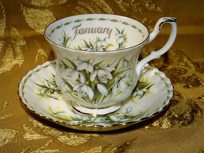 Royal Albert Snowdrops January Tea Cup & Saucer Flower Of The Month Series