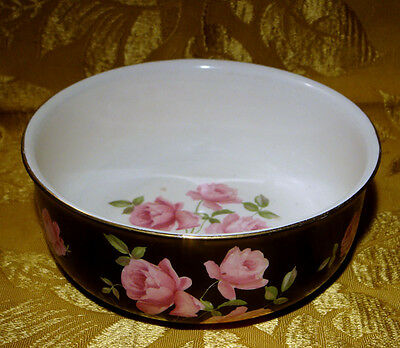 VINTAGE CROWN DUCAL BLACK SERVING BOWL w/PINK ROSES PATTERN 340 MADE IN ENGLAND