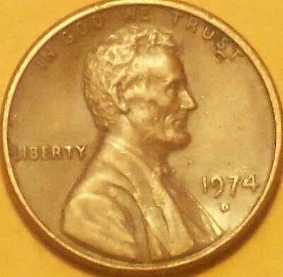 "1974D Lincoln penny(dropped letter extra ""u"" under ""TRUST"") xf-au"