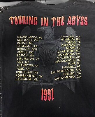 Slayer 1991 Tour Shirt Clash Of Titans Megadeth Anthrax Large