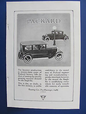 1923 Packard Touring Car 5 Passenger Automobile Ad