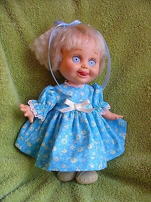 Made to fit the13'' Galoob Baby Face Doll Blue dress w/ cream flowers