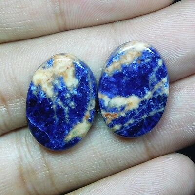 21.7Cts 100% NATURAL LOVELY SODALITE PAIR OVAL 22X15 LOOSE CAB GEMSTONE PK129