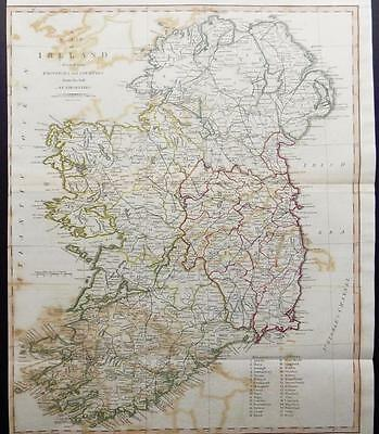 1805 Original Antique LARGE MAP 'IRELAND' by John Cary Outline Colour