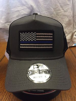 NEW ERA GREY BLACK Mesh Snapback Hat Cap W  Thin Blue Line Flag ... 0f884d6b0d6