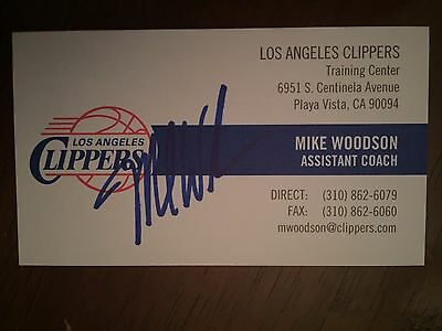 MIKE WOODSON autograph LOS ANGELES CLIPPERS Hoosiers business card signed
