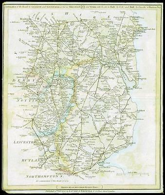 1806 Antique Road Map NORTHAMPTON RUTLAND LEICESTERSHIRE DERBYSHIRE NOTTINGHAM