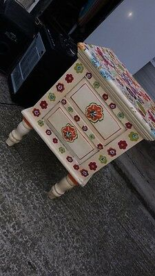 White Flower Print Bed Side Cabinet