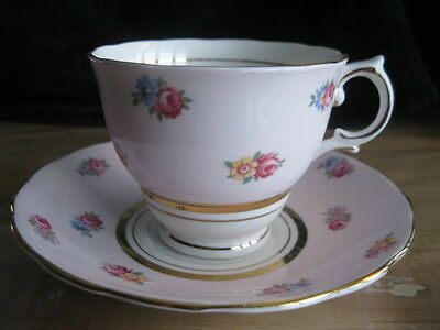 Colclough Bone China Light Pink Tea Cup & Saucer Floral With Gold Trim