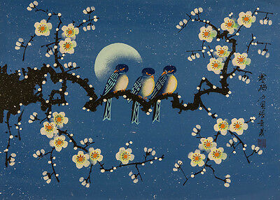 Chinese Contemporary Mixed Media - Birds on Cherry Blossom Branch