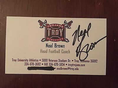 NEAL BROWN autograph TROY TROJANS Head Coach business card signed
