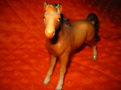 "Vintage Japan Porcelain Ceramic Brown Horse w/ Label 5"" Tall Free Shipping"