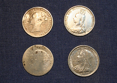 4 Victorian Silver Threepenny pieces-1885 to 1898 Circulated & varying condition
