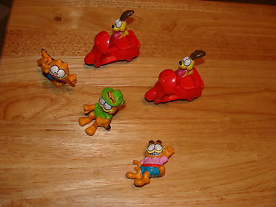 Vintage 1980's Garfield Pvc Figures Great Desk Odie Cake Topper Scooter