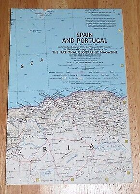 Vintage 1965 National Geographic Map of Spain and Portugal