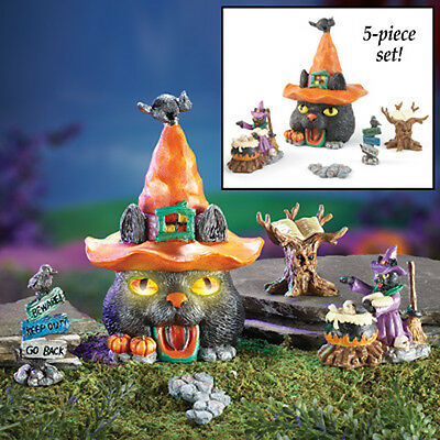 Halloween Miniatures Black Cat House Witch Hat Doll LED Tree Pumpkin Cauldron