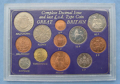 1967 Great Britain Complete Decimal Issue & Last £.s.d. 12-coin Type Set UK pre