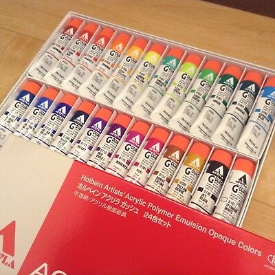 NIB Holbein acrylic polymer emulsion opaque colors  ACRYLA GOUACHE 24 colors set