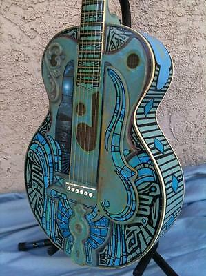 Cool! 'Blue Agave' carved, custom grille, Quantrell parlor guitar!